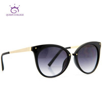 Queen College Brand Design Cat Eye Sunglasses Women Top Quality Sun Glasses  Eyeglasses 6 colors CE UV400 AE0085