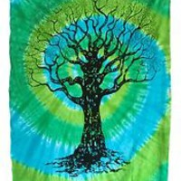 Blue Green Spiral Tie Dye Tapestry Hanging Wall Art  Great for Apartments decor