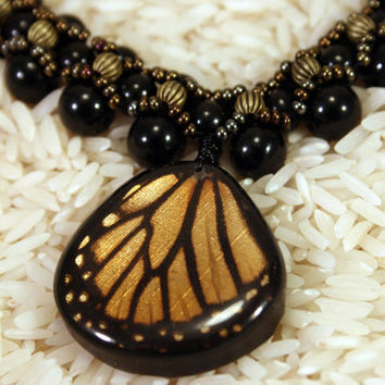 Butterfly Pendant, Beaded Necklace with Real Monarch Pendant.  Gorgeous weaved bead Black and Bronze.