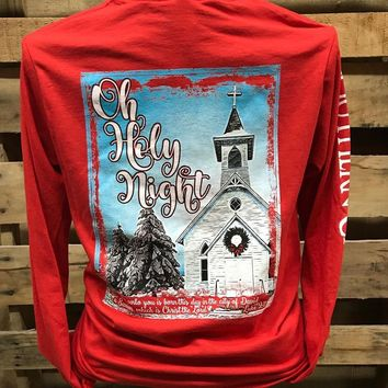 Southern Chics Oh Holy Night Church Christmas Long Sleeve Girlie Bright Shirt