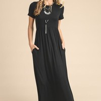 Picture Perfect Short Sleeve Maxi Dress - Black