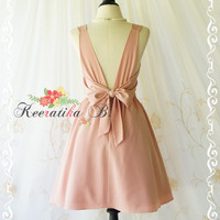 A Party V Charming Dress Prom Party Dresses Pale Pink Nude Dresses Backless Party Dress Pink Wedding Bridesmaid Dress Pink Prom Dress XS-XL