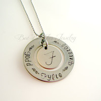 Hand Stamped Washer Personalized Necklace - Mothers Necklace- Mothers Jewelry