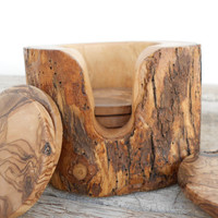 Natural Edges Branch Decorative Wooden Natural Coaster set, Rustic Wedding Decor gift Rustic Wooden Coaster set with Rustic Holder