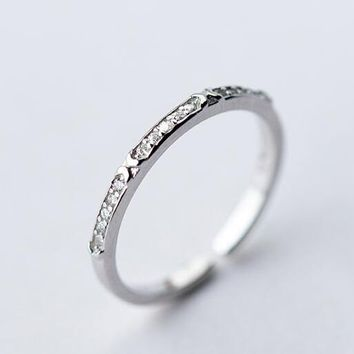 1pc (2MM WIDTH) 100% REAL.925 Sterling Silver fINE jEWELRY Half Eternity finger midi knuckle ring for women CZ PAVED GTLJ1267