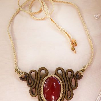 Goddess Macrame necklace with carnelian gemstone. Goddess, Indian, tribal, psy trance, festival, steampunk,