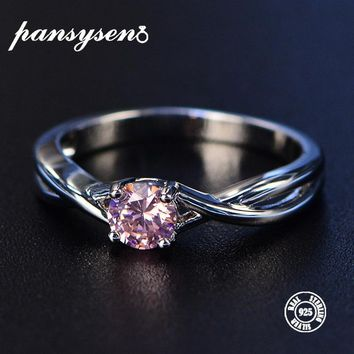 PANSYSEN 5*5mm 1ct Pink Spinel Birthstone Rings Solid 925 Sterling Silver