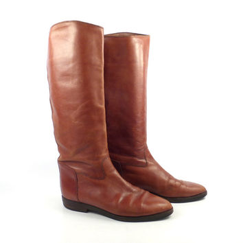 Brown Flat Boots Vintage 1980s Joan and David Rust Leather Women's size 7 1/2 - 8