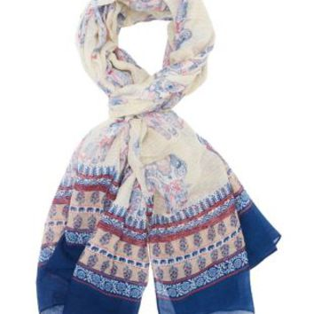 Ivory Combo Border Print Elephant Scarf by Charlotte Russe