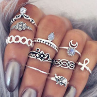 10PCS/LOT Bohemian Midi Ring Set Vintage Steampunk Elephant Moon Anillos Ring Knuckle Rings for Women Anel YW657