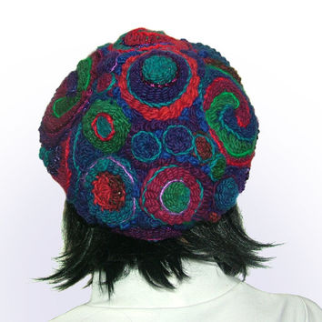 Womens Hat Beanie OOAK Freeform Crochet in Purple, Magenta, Turquoise, Blue