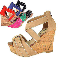 Tracy Cork Platform Wedge Sandal Thick Strap Buckle Multi Color Women Soda shoes
