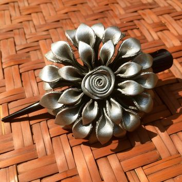 Leather Flower Hair Clip - Silver Dahlia - Clamp