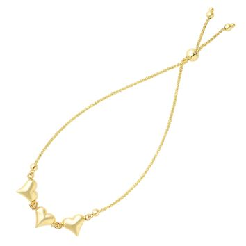 """Shiny Puff Hearts Charms Bolo Friendship Adjustable Bracelet In 14K Yellow Gold, 9.25"""""""