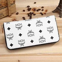 DCCK MCM Stylish Women Shopping Logo Print Leather Single Zipper Purse Wallet White I