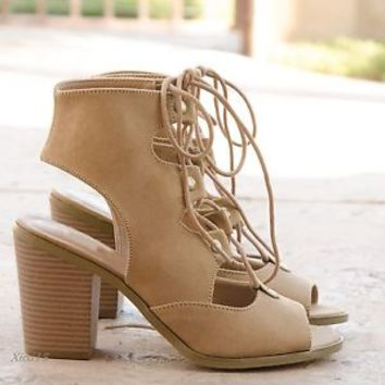 Women's Sandals Open Toe Cutout Chunky Heel Lace Up High Heel Sandal Shoes New
