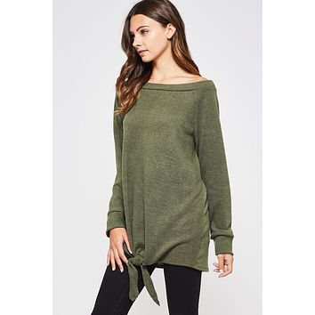 Twist Front Knit Top - Olive