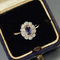 Vintage Topaz and Diamond Cluster Ring