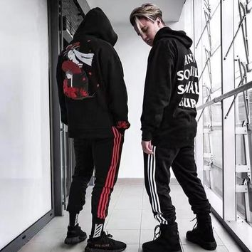 High quality 2017 new arrive Joining together fashion men/women Elastic Waist pants hiphop high street kpop clothes casual pants