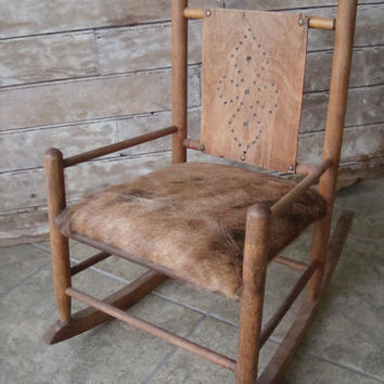 Vintage Childs Rocking Chair Western Cowhide Primitive Wooden Rare