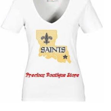 New Orleans Saints Boot High Rhinestone Shirt