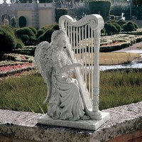 SheilaShrubs.com: Music from Heaven Angel with Windchimes Statue - Large NG29970 by Design Toscano: Garden Sculptures & Statues