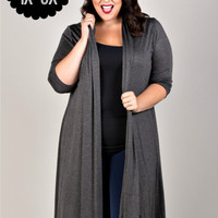 Plus Size Long Open Stretch Knit Cardigan
