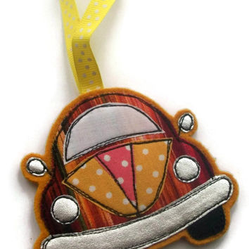 Christmas in July Half Price Offer - VW Beetle Christmas Tree Decoration - Freemotion Embroidered Slug Bug