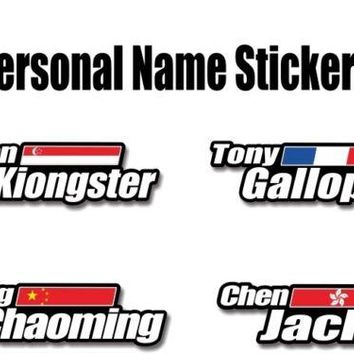 4x Custom name national flag Stickers helmet frame top tube Personalized Name Flag decals For bike bicycle cycle race cycling