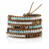 Sea Blue and Natural Colored Agates on Natural Leather Wrap Bracelet