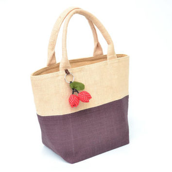 Cotton Tote Bag Two Tone Colours With zipper On Side (CTB051)