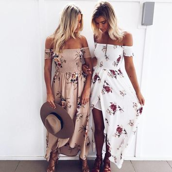 Summer Off Shoulder Boho Style Long Beach Dress Women Floral Print Vintage Chiffon Maxi Strapless Dresses Vestidos De Festa