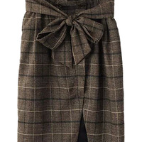 Brown Plaid Ribbon Tie-Waist Assymmetric Pencil Skirt