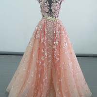 Elie saab bling bling sequines lace leaves pink gown night dress vestidos longos latest evening gown designs robe de soir e