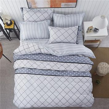 bedding set white grid duvet cover queen bed sheet geometric stripe star bedspread bed line flower home bedding five size