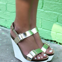 Endless Style Gold Champagne White Platform Sandal Wedges