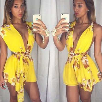 ESBON Fashion Print Drawstring Deep V Sleeveless Chiffon Romper Jumpsuit Shorts