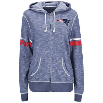 Women's New England Patriots Majestic Navy Athletic Tradition Full-Zip Hoodie