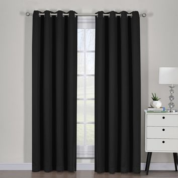 Black Ava Blackout Weave Curtain Panels With Tie Backs Pair (Two Panels )