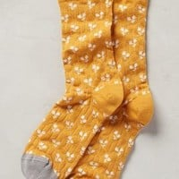 Bonne Maison Paired Posy Socks in Yellow Motif Size: One Size Socks