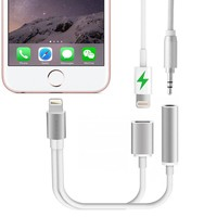 NEW 13.5cm/0.44ft For iPhone 7 &Plus 2 in 1 to 3.5mm Headphone Jack Adapter Charge Cable