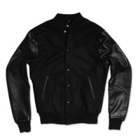 Black Wool Leather Varsity Jacket
