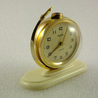 Soviet GLOBE Alarm Clock. Beautiful Vintage mechanical Alarm clock SLAVA made in USSR - 1970's.