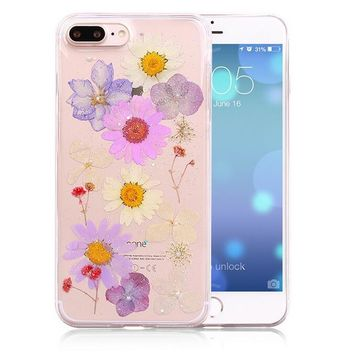 handmade pressed flower case limited real dried flowers phone case cover for iphone 7 7plus iphone se 5s 6 6 plus gift box 263  number 1
