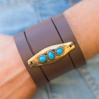 Stone and Leather Gypsy Style Turquoise Cuff