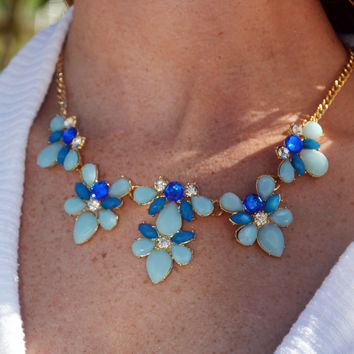 Light Blue Floral Statement Necklace