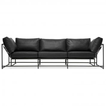 INHERITANCE LEATHER SOFA - BLACK LEATHER & BLACKENED STEEL