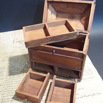 Antique Vintage Style Collectors Campaign Chest Wood Box w Secret Comparments