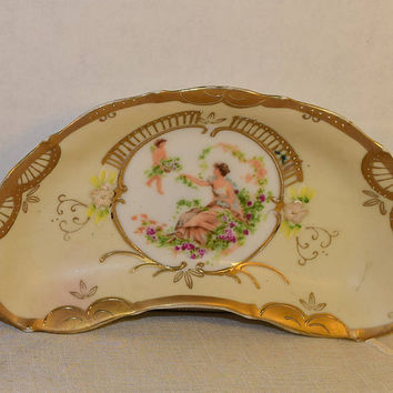French Provincial Crescent Boning Dish Vintage Hand Painted Gilded Bowls 2 Cottage Style Shabby Chic Rococo Art Nouveau Trinket Dish 6812C