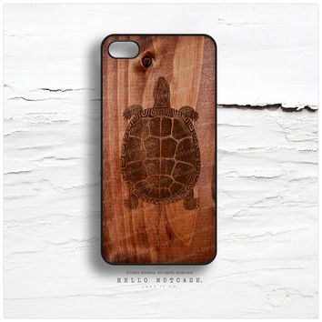iPhone 5 Case Wood Print, iPhone 5s Case Turtle, iPhone 4 Case, iPhone 4s Case, Turtle iPhone Case, Wood Texture iPhone Cover T95
